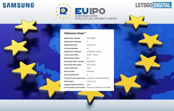 렛츠고 디지털이 보도한 삼성전자가 유럽특허청에 출원한 '하이드웨이 힌지' 상표 [사진 렛츠고 디지털]