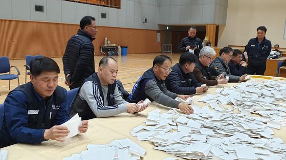 현대차 노조 지부장 선거 검표 현장. [사진 현대차 노조]