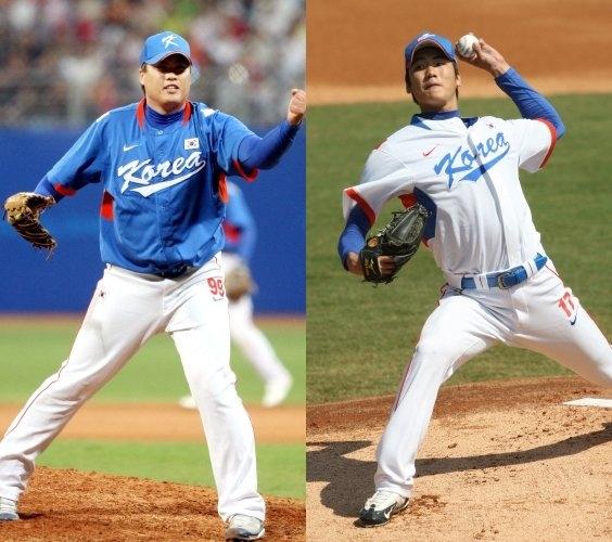 지난 2008년 베이징 올림픽 당시 역대 최강의 좌완 원투펀치로 활약한 류현진과 김광현의 모습. 중앙포토