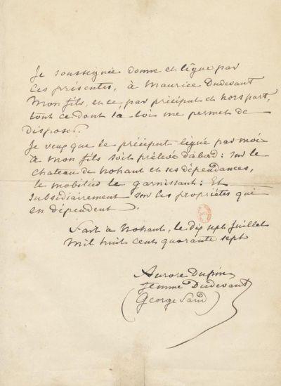 조르주 상드의 첫 유언장. 1847년 7월 17일. 딸 부부와 노앙 자택에서 다툼이 있고 난 후 상드는 아들을 위한 유언장을 작성했다. [사진 Wikimedia Commons]