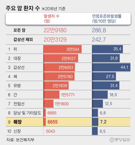 주요 암 환자 수. 그래픽=김영옥 기자 yesok@joongang.co.kr