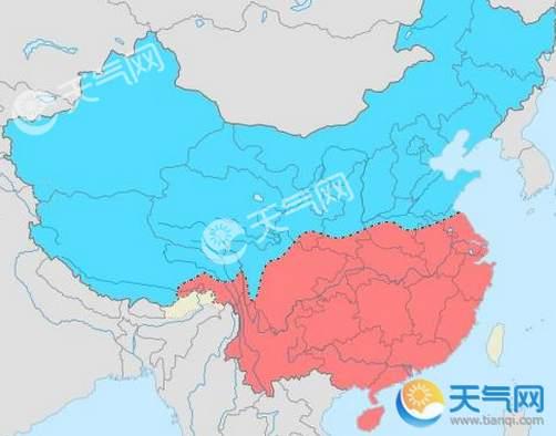 파란색 부분은 북방(北方), 빨간색 부분이 남방(南方) [출처 天气网]