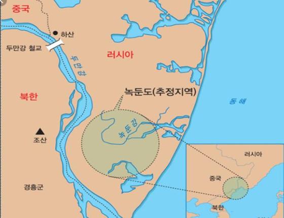 서울시가 국내 민간단체인 남북역사학자협의회를 지원하는 방식으로 북한, 러시아와 함께 이순신 장군의 활약 무대 중 하나인 나선-녹둔도 유적 발굴조사를 본격화한다고 8일 밝혔다.   사진은 녹둔도 추정 위치. [사진 서울시]