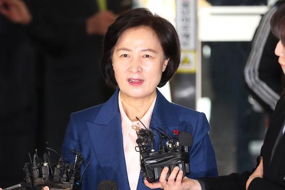추미애 법무부장관 후보자가 9일 오전 서울 양천구 남부준법지원센터로 출근하며 취재진의 질문을 받고 있다. 장진영 기자
