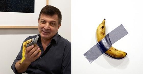 """뉴욕에서 활동하는 행위예술가 데이비드 다투나는 7일 """"배가 고프다""""며 관중 앞에서 '코미디언'에 사용된 바나나를 먹었다. 오른쪽 사진은 바나나를 덕트 테이프로 붙여놓은 작품 '코메디언'. [로이터=연합뉴스]"""