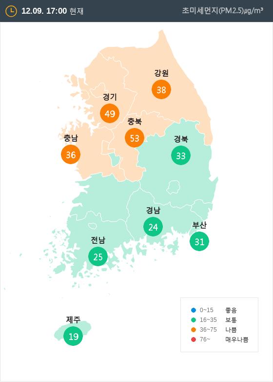 [12월 9일 PM2.5]  오후 5시 전국 초미세먼지 현황