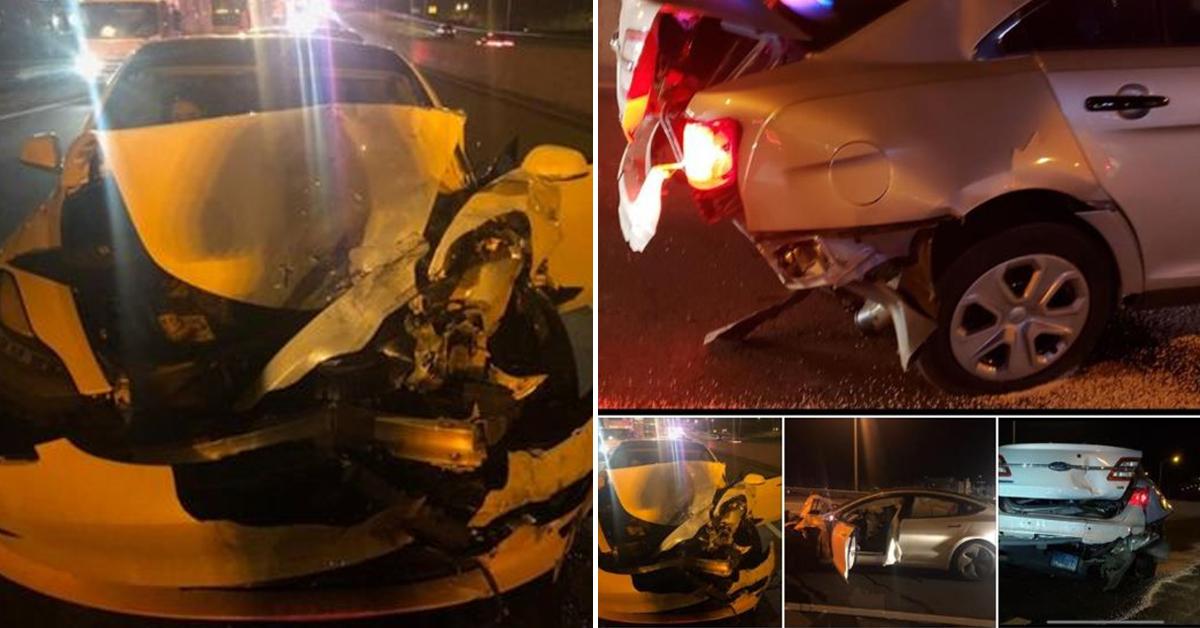 미국에서 자율주행 시스템으로 주행하던 테슬라 모델3 차량이 정차하고 있던 경찰차를 들이받는 사고가 발생했다. [사진 미 코네티컷주 경찰 페이스북 캡처]