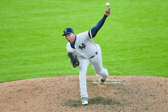 전 세계에서 가장 빠른 공을 던지는 MLB 뉴욕 양키스 아롤디스 채프먼. [AFP=연합뉴스]