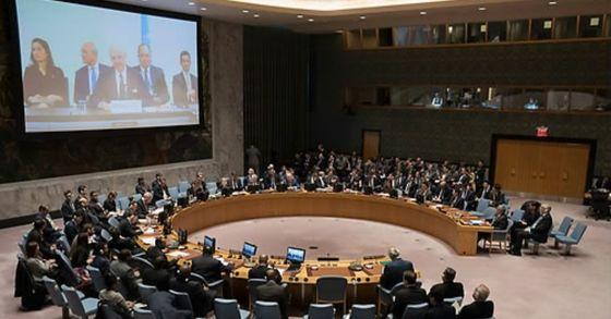 2018년 시리아 화학무기 공격을 다룬 유엔 안전보장이사회 긴급회의. [AFP=연합뉴스]