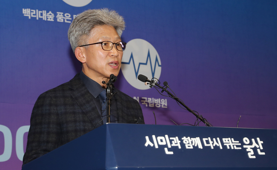 송병기 울산시 경제부시장이 5일 울산시청 프레스센터에서 김기현 전 울산시장 측근 비리 제보와 관련한 입장을 밝히고 있다. 송봉근 기자