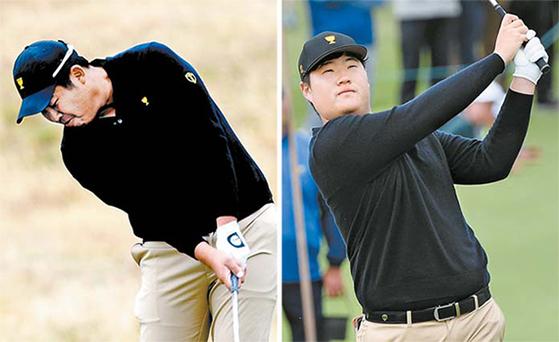 인터내셔널 팀 멤버로 출전한 한국의 안병훈(왼쪽)과 임성재의 첫날 샷 장면. [사진 KPGA]