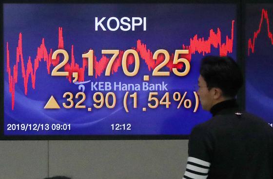 13일 서울 중구 KEB하나은행 딜링룸. 미중 1단계 합의 소식에 코스피가 1% 넘게 상승했다. [뉴스1]