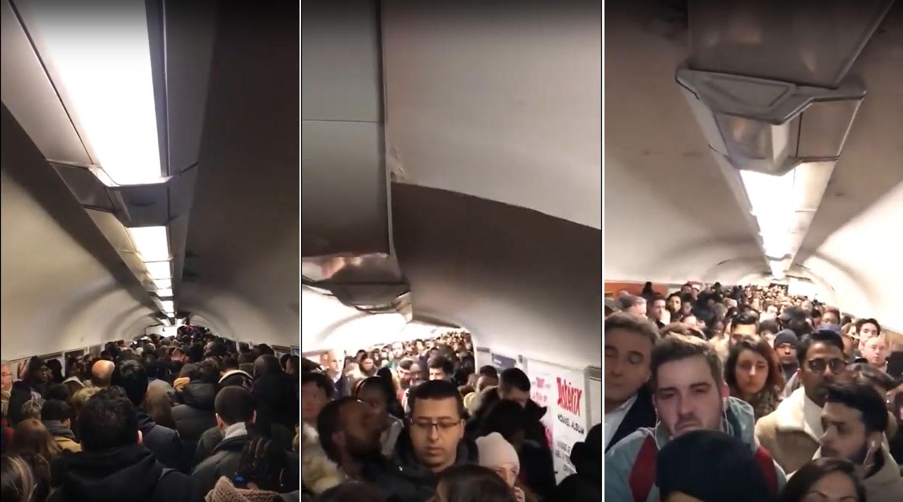 프랑스 연금 개편 저지 총파업 일주일 째인 11일(현지시간) 파리 샤틀레 지하철역 3개 통로가 열차를 기다리는 시민들로 가득 차 있다. [사진 유튜브 캡처]