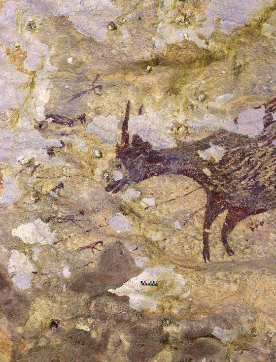 인도네시아 술라웨시 섬 동굴에서 발견된 4만 4000년 전의 벽화.[로이터=연합뉴스]