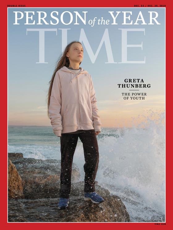 그레타 툰베리를 '올해의 인물'로 선정한 미국 시사주간지 타임의 표지. [AP=연합뉴스]