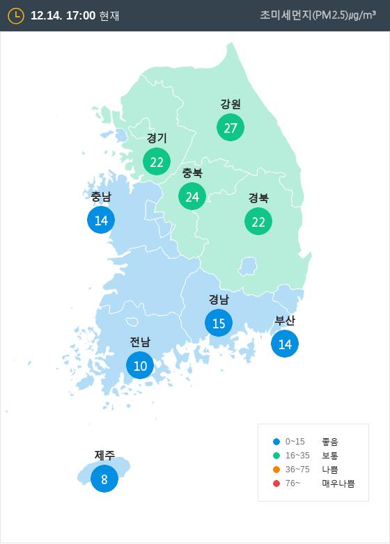 [12월 14일 PM2.5]  오후 5시 전국 초미세먼지 현황
