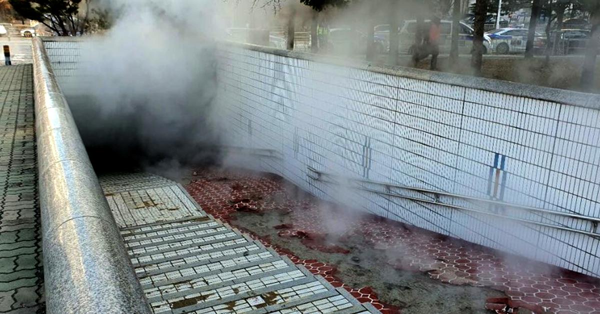 15일 오전 8시16분쯤 경기도 성남시 분당구 정자동의 한 고등학교 옆 지하보도 인근에 묻혀있던 온수배관이 파열됐다. [사진 경기도소방재난본부]