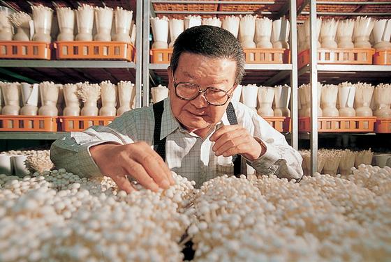 은퇴 후 버섯 재배 연구에 몰두하고 있는 고 구자경 LG 명예회장, [사진 LG]