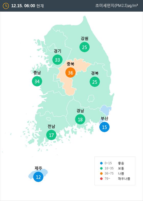 [12월 15일 PM2.5]  오전 6시 전국 초미세먼지 현황
