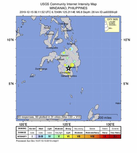 미국 지질조사국(US Geological Survey)이 제공한 유인 강도 지도는 필리핀 다바오 남서쪽 61km 지점에서 28km 깊이에 발생한 규모 6.8의 강진 위치를 보여준다. [사진 USGS]