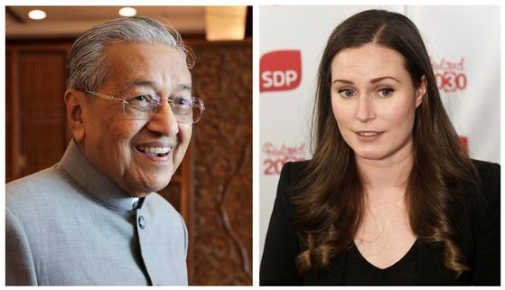 94세로 세계 최고령 지도자인 말레이시아의 마하티르 총리(왼쪽)와 34세로 최연소 행정부 수반인 산나 마린 핀란드 총리의 모습. 두 사람의 나이 차이는 50년에 이른다. [로이터=연합뉴스]