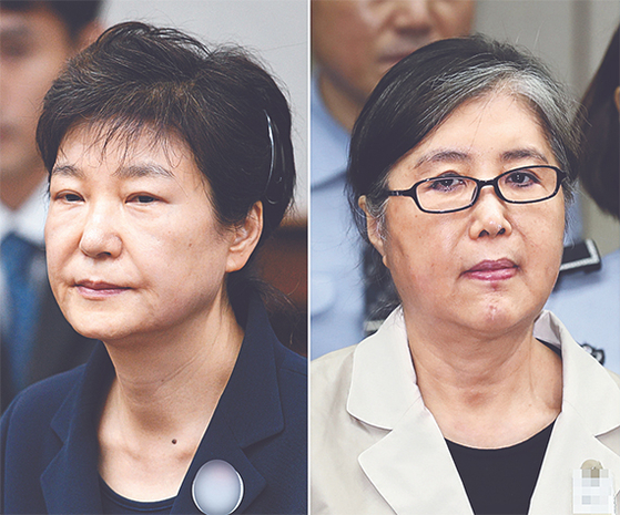 박근혜 전 대통령(왼쪽)과 '비선실세' 최순실씨. [연합뉴스]