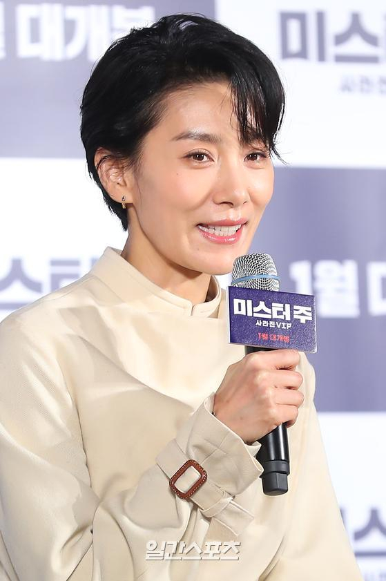 배우 김서형이 19일 서울 동대문 메가박스에서 열린 영화 '미스터 주 ' 제작보고회에 참석했다. / 사진=박세완 기자