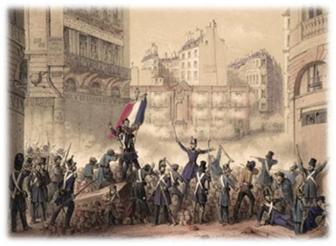 1848년 2월 혁명 중의 파리의 시가에 설치된 바리케이드를 둘러싼 전투모습. [사진 Wikimedia Commons]