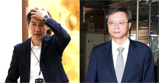 조국 전 민정수석과 우병우 전 민정수석의 모습. 연합뉴스, 장진영 기자.