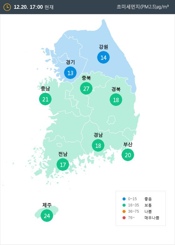 [12월 20일 PM2.5]  오후 5시 전국 초미세먼지 현황