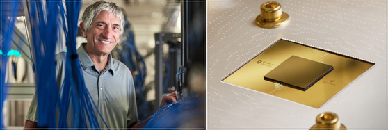 존 마르티니스 교수(좌)와 지난 10월 구글이 공개한 양자컴퓨터칩 '시커모어'(우). 구글과 마르티니스 교수 연구팀은 슈퍼컴퓨터로 1만년이 걸리는 문제를 시커모어로는 200초 만에 해결할 수 있다는 연구 결과를 내놨다.[사진 네이처, AFP=연합뉴스]