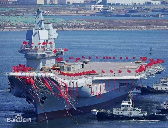 지난 17일 취역한 중국의 첫 국산 항모 '산둥함' 이름엔 청일전쟁의 패배 설욕 의지가 담겼다. [중국 바이두 캡처]