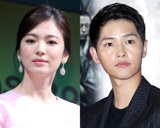 지난 7월 이혼한 배우 송혜교 씨와 송중기 씨. [뉴스1]