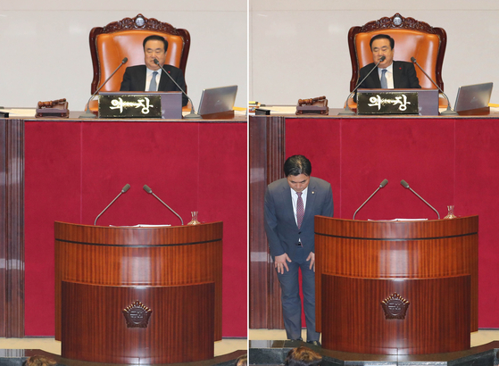김종민 더불어민주당 의원이 24일 서울 여의도 국회 본회의장에서 열린 본회의에서 공직선거법 개정안에 대해 무제한 토론을 하던 중 화장실을 다녀와 인사를 하고 있다. [뉴시스]