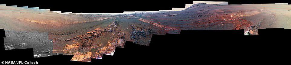 올해 초 오퍼튜니티가 사망 선고를 받기 전 29일 동안 찍은 사진 354장을 합성한 이미지. 황량한 화성의 풍경을 보여준다. [사진 NASA]