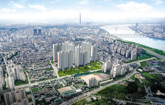 이른바 '강남 4구' 중 한 곳으로 꼽히는 서울 강동구에 가격이 주변 시세의 50% 수준인 아파트가 나와 눈길을 끈다. 더블역세권 단지인 암사 한강이다. 이미지는 암사 한강 항공 조감도.