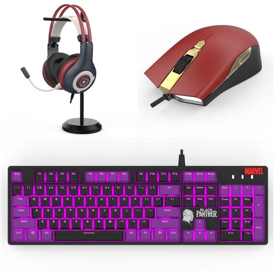 곧 판매할 계획인 '마블' 디자인의 PC 주변기기들. 왼쪽부터 '캡틴아메리카 헤드셑', '아이언맨 마우스', '블랙팬서 키보드' 등. [사진 세컨드찬스]