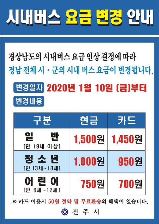 경남 진주시의 시내버스 요금 인상 홍보물. [사진 진주시]