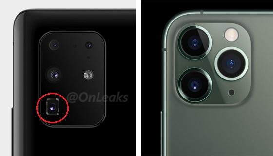 사진 왼쪽은 지난 27일 IT 최신 정보에 밝은 스티브 맥플라이(@Onleaks)가 트위터에 공개한 갤럭시S11플러스(가칭)의 뒷면 카메라 모듈. 빨간 원에 탑재된 렌즈가 잠망경 형태로 최대 5배 줌이 가능한 망원 렌즈로 보인다.