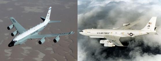 미국 공군의 정찰기가 북한의 대륙간탄도미사일(ICBM) 발사 등 도발 가능성에 대비해 연일 공개적인 대북 감시?정찰비행을 계속하고 있다. 미 공군의 통신감청 정찰기 RC-135W는 미사일 발사 전 지상 원격 계측 장비인 텔레메트리에서 발신되는 신호를 포착하고, 탄두 궤적 등을 분석하는 장비를 탑재하고 있다(왼쪽사진). 미 공군 지상 감시 정찰기 E-8C 조인트 스타즈(J-STARSㆍ오론쪽)는 폭 44.2m, 길이 46.6m, 높이 12.9m로 순항속도는 마하 0.8이다. [사진 미공군]