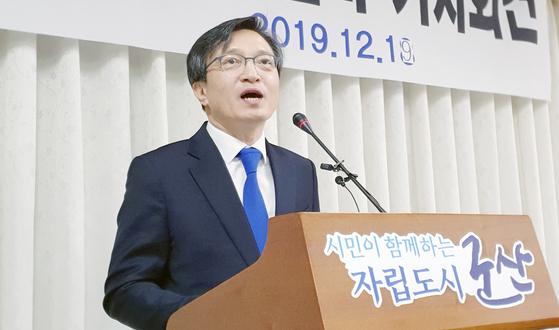 김의겸 전 청와대 대변인이 지난 19일 전북 군산시 군산시청에서 기자회견을 열고 21대 국회의원 총선 출마 선언을 하고 있다. [뉴스1]