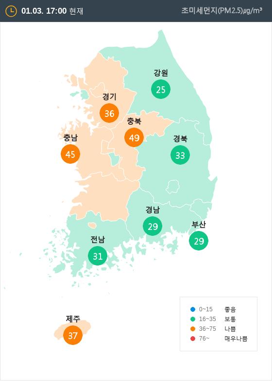 [1월 3일 PM2.5]  오후 5시 전국 초미세먼지 현황