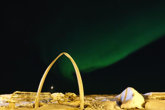 알래스카 최북단 우트키아비크의 고래뼈 조각공원 위로 오로라가 펼쳐졌다. [사진 한국해양수산개발원]