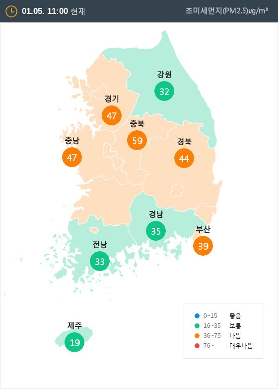 [1월 5일 PM2.5]  오전 11시 전국 초미세먼지 현황