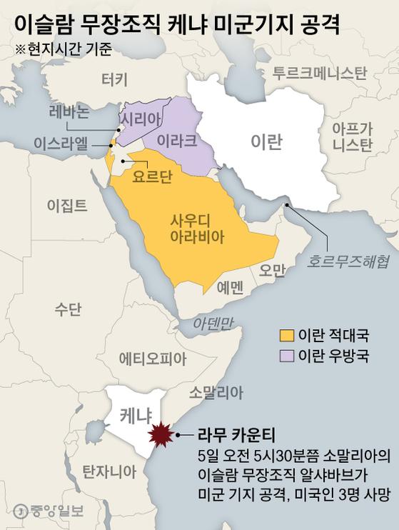 이슬람 무장조직 케냐 미군기지 공격. 그래픽=박경민 기자 minn@joongang.co.kr
