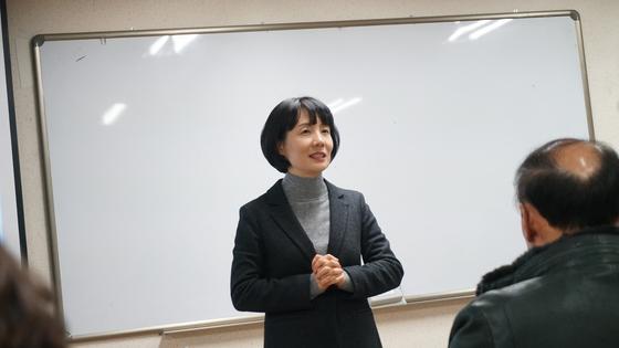 이혜린 입학·학생처장이 격려사를 전하고 있다.