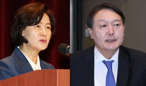 추미애(왼쪽) 법무부장관, 윤석열 검찰총장. [뉴스1]