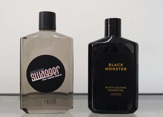 남성 그루밍 브랜드 스웨거의 샤워젤(왼쪽)과 디자인 갈등을 빚는 B업체의 용기. [사진 스웨거]