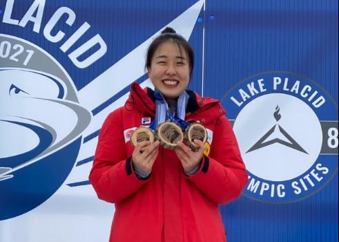여자 스켈레톤 간판 김은지가 북아메리카컵 시즌 통합 우승을 차지했다. [사진 대한봅슬레이스켈레톤경기연맹]