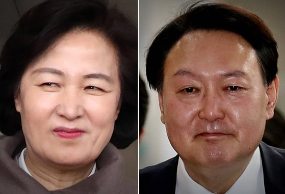 추미애 법무부 장관(왼쪽)과 윤석열 검찰총장. [연합뉴스·뉴스1]